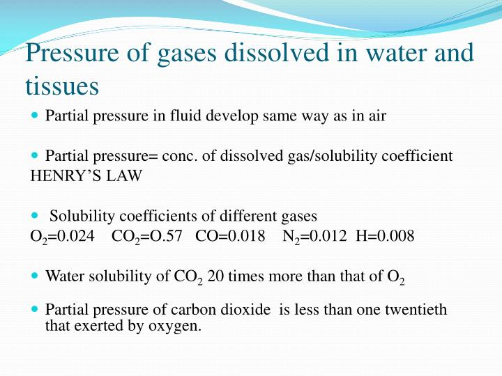 Pressure of gases dissolved in water and tissues
