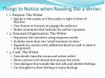 things to notice when reading like a writer