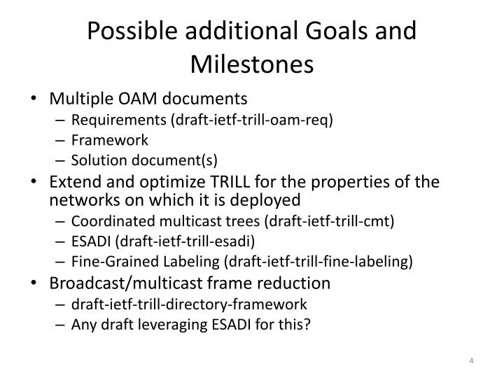 Possible additional Goals and Milestones