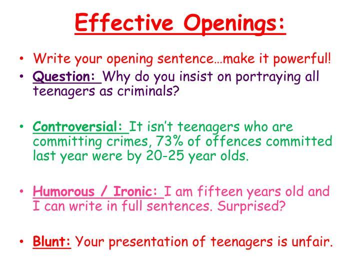 Effective Openings: