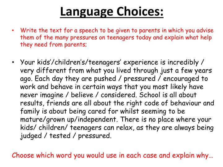 Language Choices: