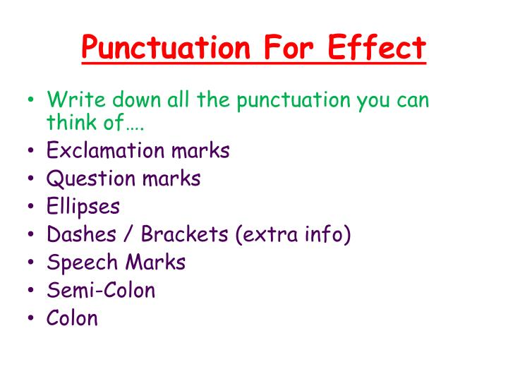 Punctuation For Effect