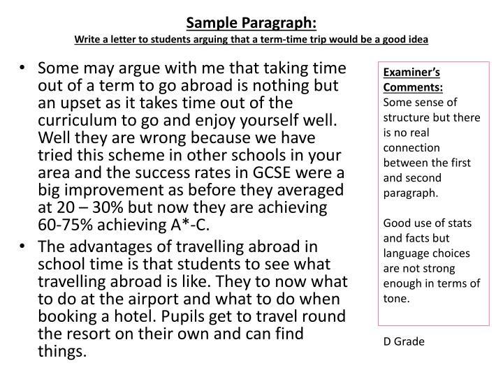 Sample Paragraph: