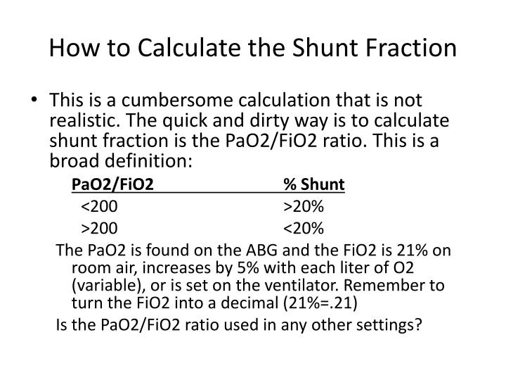 How to Calculate the Shunt Fraction