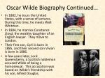 oscar wilde biography continued