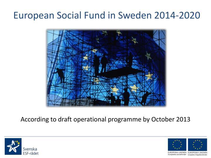 European Social Fund in Sweden 2014-2020