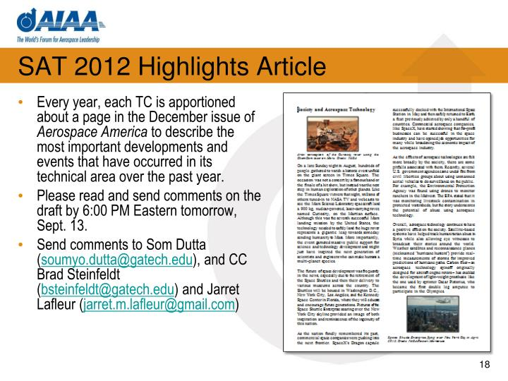 SAT 2012 Highlights Article