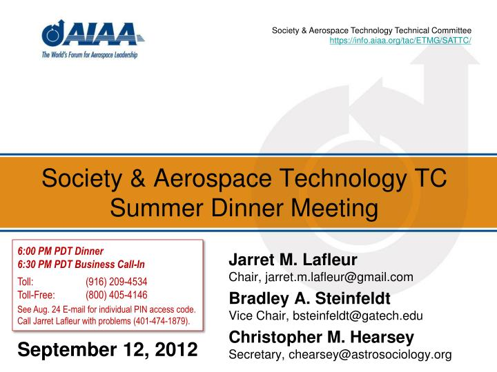 Society aerospace technology tc summer dinner meeting
