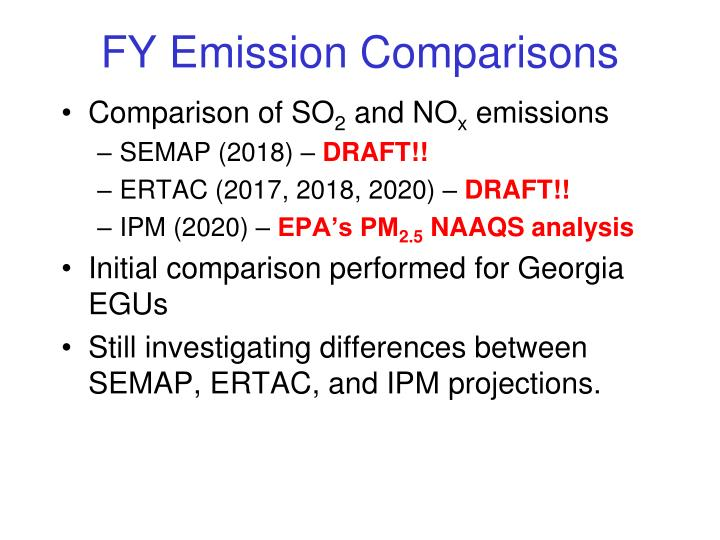 FY Emission Comparisons
