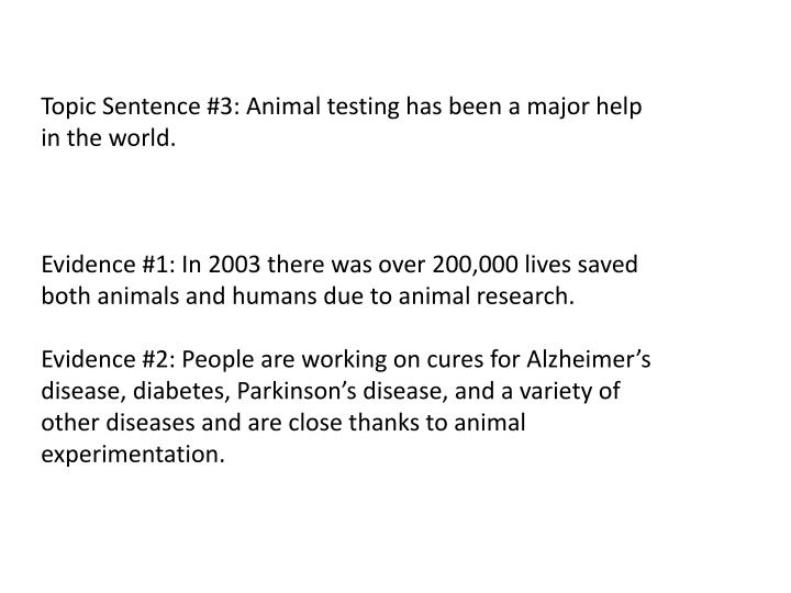 Topic Sentence #3: Animal testing has been a major help in the world.