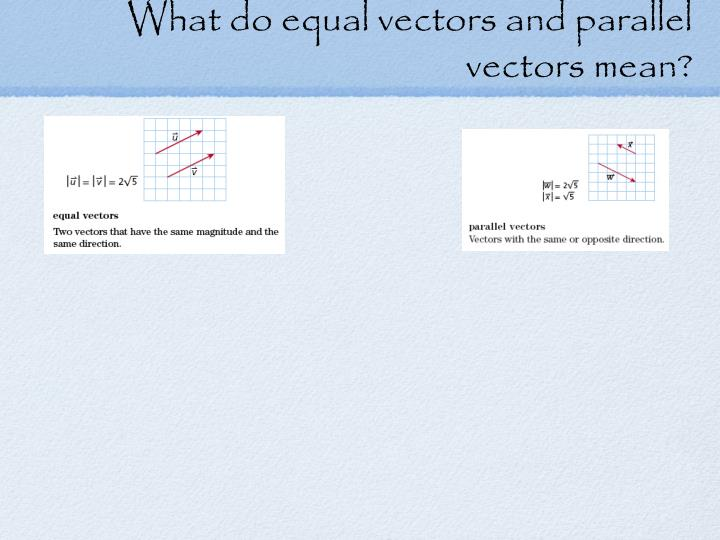 What do equal vectors and parallel vectors mean?