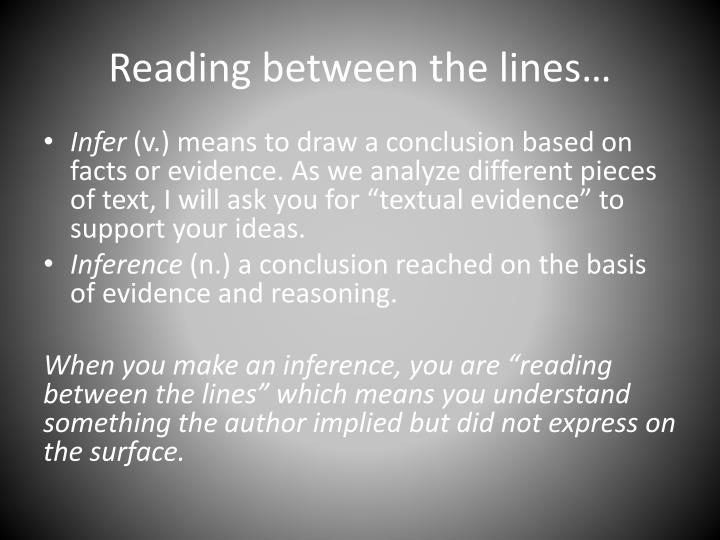 Reading between the lines…