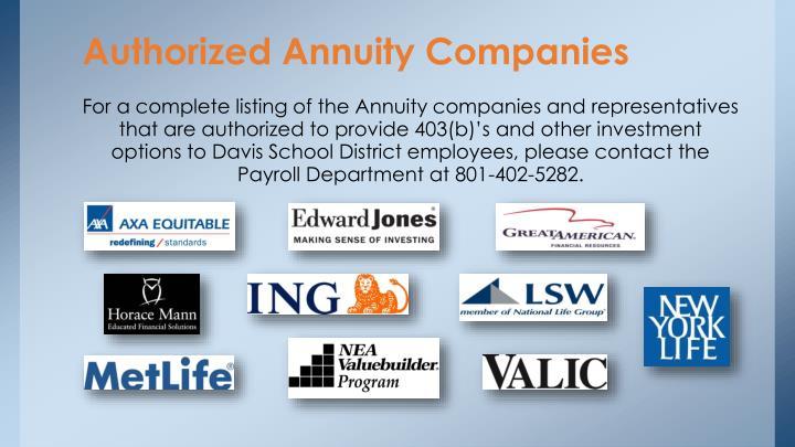 Authorized Annuity Companies