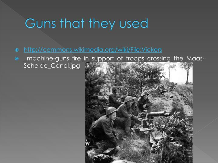 Guns that they used