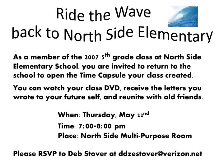 ride the wave back to north side elementary n.