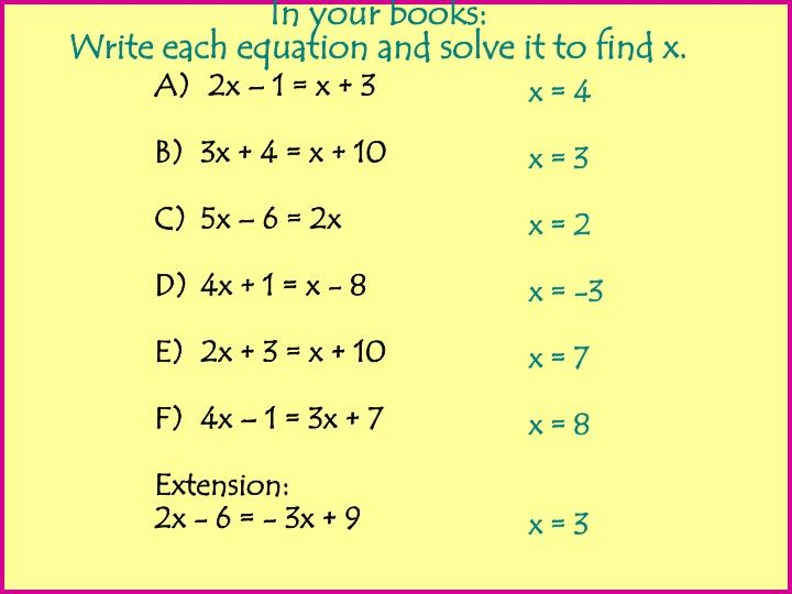 2x – 1 = x + 3