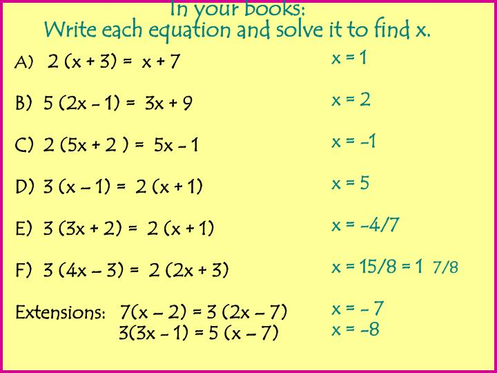 2 (x + 3) =  x + 7
