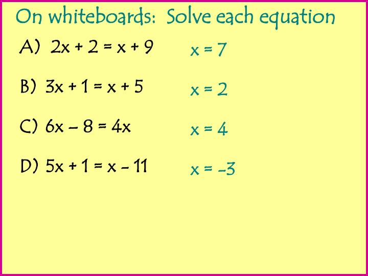 2x + 2 = x + 9