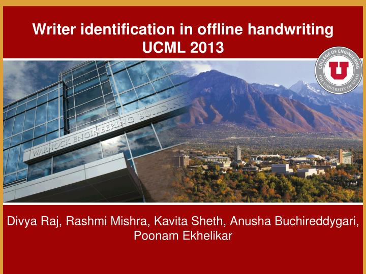 writer identification in offline handwriting ucml 2013 n.
