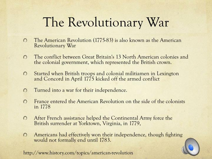 revolutionary war topics