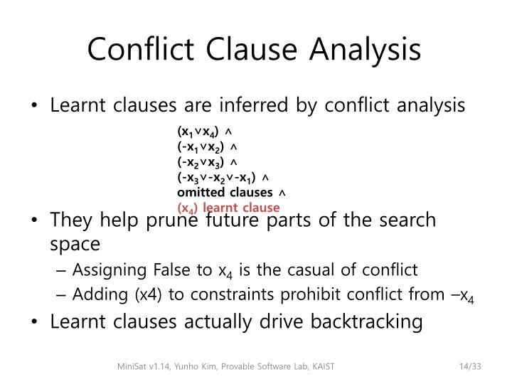 Conflict Clause Analysis