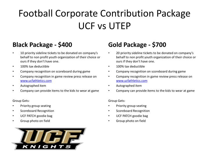football corporate contribution package ucf vs utep n.