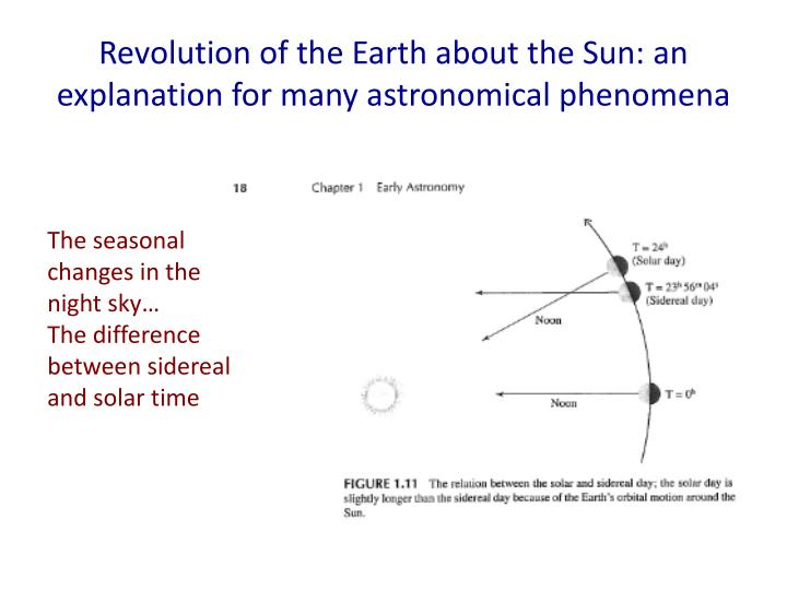 revolution of the earth about the sun an explanation for many astronomical phenomena n.