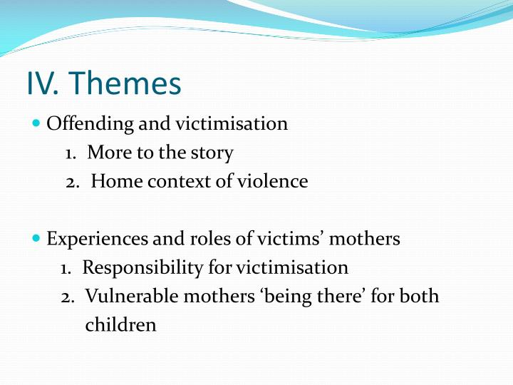 characteristics of female offending and victimisation Characteristics and patterns of at-risk juveniles and factors that contribute to violence committed by or against juveniles the risk that an adolescent will become involved in violent offending and/or be a victim of violence varies based on a variety of factors, including individual characteristics, family characteristics, peer and school influences, neighborhood environment, and daily .