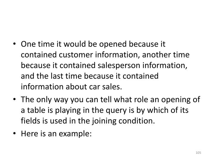 One time it would be opened because it contained customer information, another time because it contained salesperson information, and the last time because it contained information about car sales.