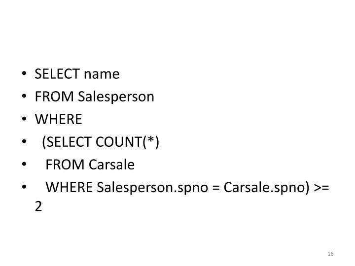 SELECT name