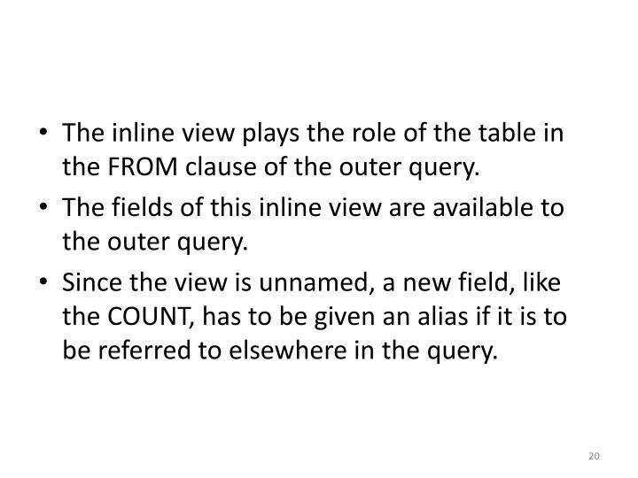 The inline view plays the role of the table in the FROM clause of the outer query.