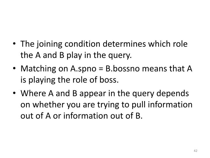 The joining condition determines which role the A and B play in the query.