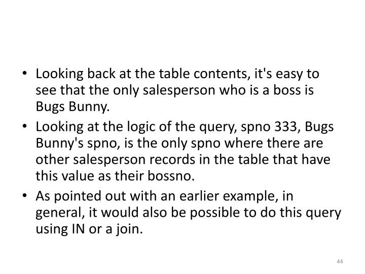 Looking back at the table contents, it's easy to see that the only salesperson who is a boss is Bugs Bunny.