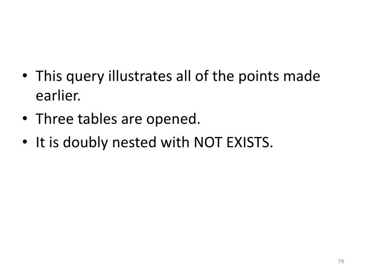 This query illustrates all of the points made earlier.