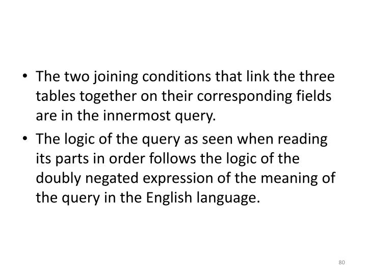 The two joining conditions that link the three tables together on their corresponding fields are in the innermost query.