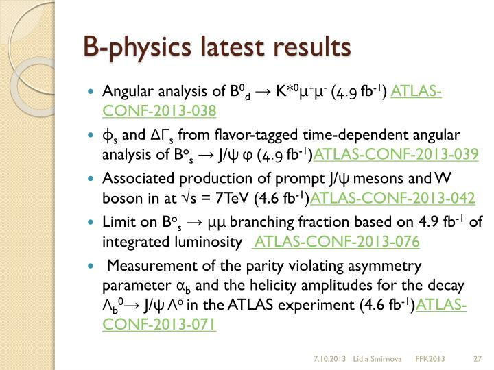 B-physics latest results