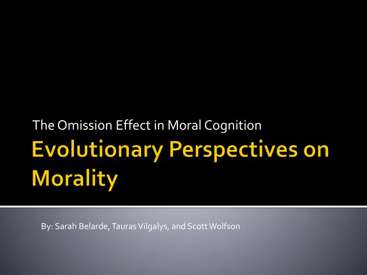 the omission effect in moral cognition n.