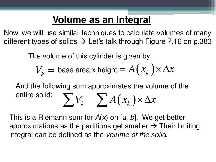 Volume as an Integral