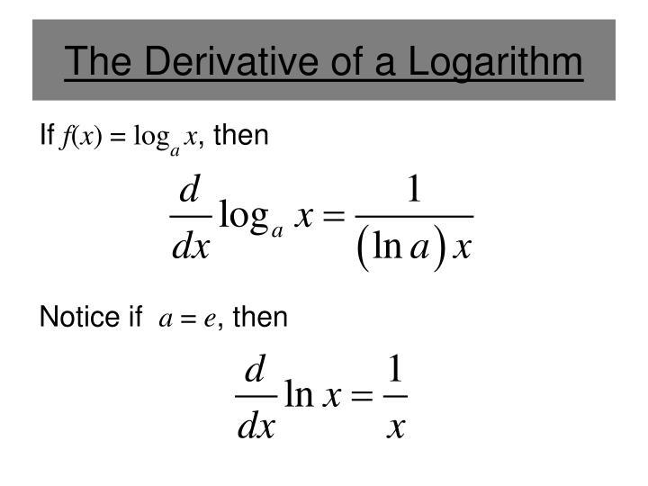 The derivative of a logarithm1