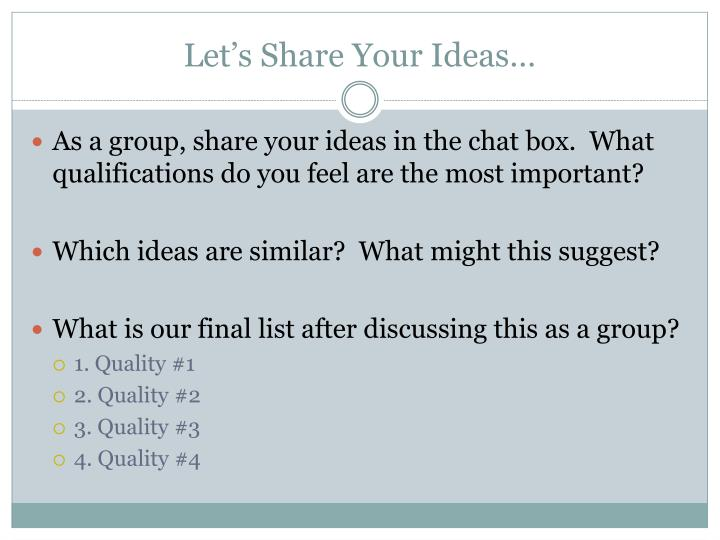 Let's Share Your Ideas…
