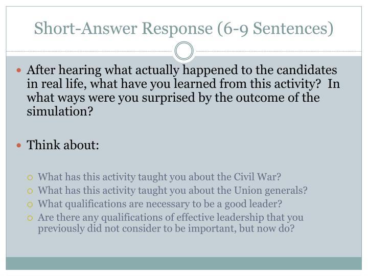 Short-Answer Response (6-9 Sentences)