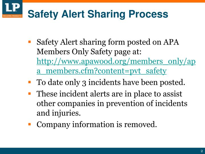 Safety alert sharing process