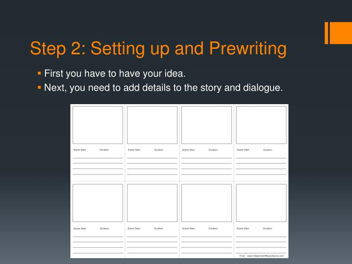 Step 2: Setting up and Prewriting