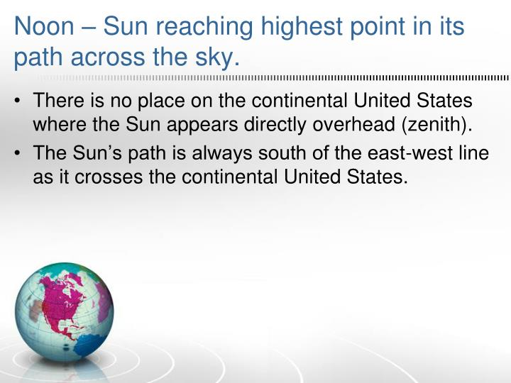 Noon – Sun reaching highest point in its path across the sky.