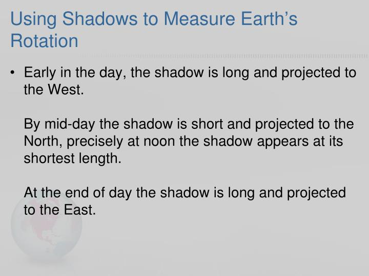 Using Shadows to Measure Earth's Rotation