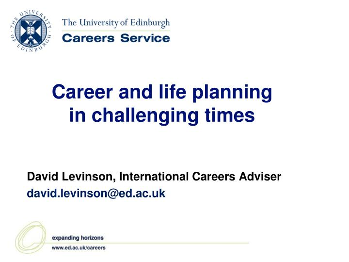 career and life planning in challenging times n.