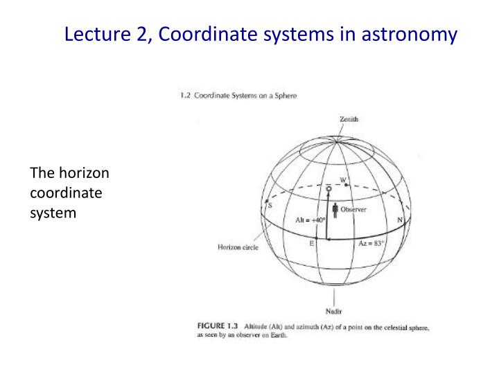 lecture 2 coordinate systems in astronomy n.