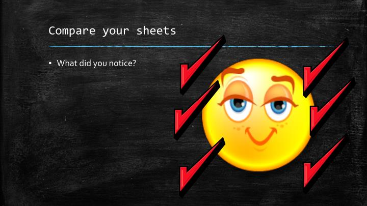 Compare your sheets