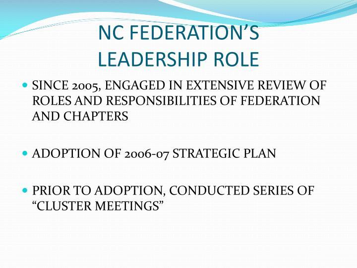 Nc federation s leadership role
