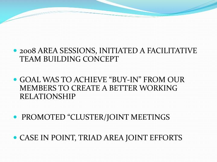 2008 AREA SESSIONS, INITIATED A FACILITATIVE TEAM BUILDING CONCEPT
